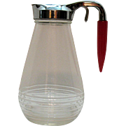 Vintage Hazel Atlas 9 ¼ Inch Syrup Dispenser Red Bullet Bakelite Handle Excellent Chrome Good Condition
