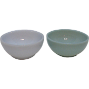 Vintage 2 Anchor Hocking Fire King Turquoise Blue Chili Bowls 1957-58 Good Condition