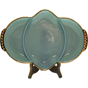 Vintage Anchor Hocking Fire King Turquoise Blue 3 Part Relish Tray Gold Trim 1957-58 Very Good Condition