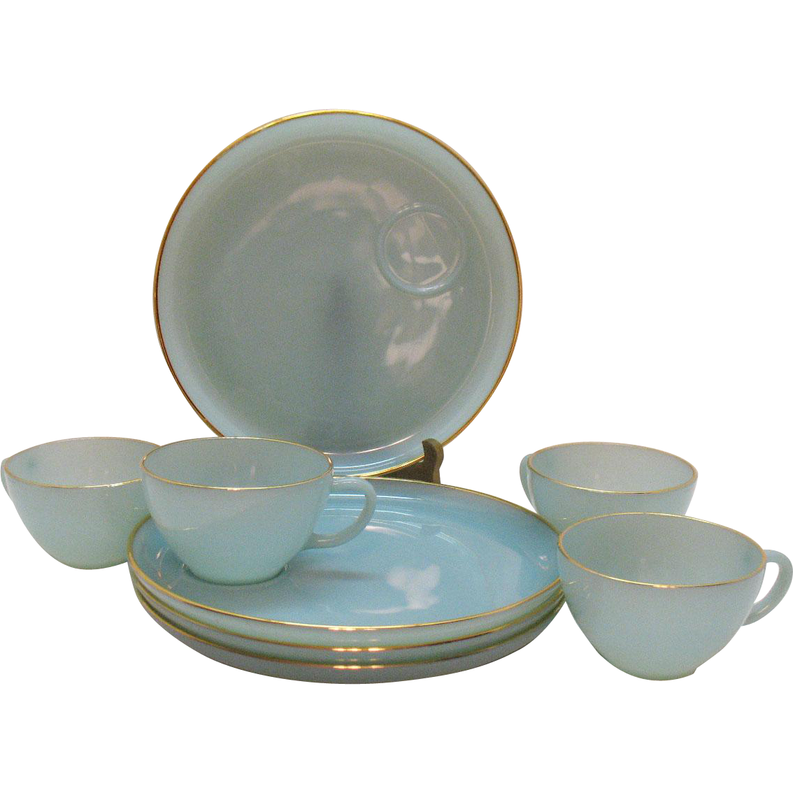 Vintage Anchor Hocking Fire King 4 Snack Sets Turquoise Blue 1957-58 Good Condition