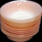 Vintage Anchor Hocking Fire King 8 Fruit/Dessert Bowls Pink Swirl Pattern 1949-62 Good Condition