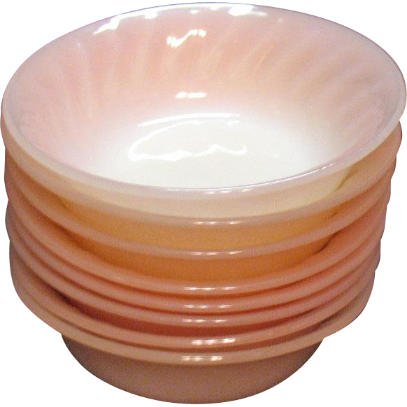 Vintage Anchor Hocking Fire King 8 Fruit/Dessert Bowls Pink Swirl Pattern 1949-62 Good Condition