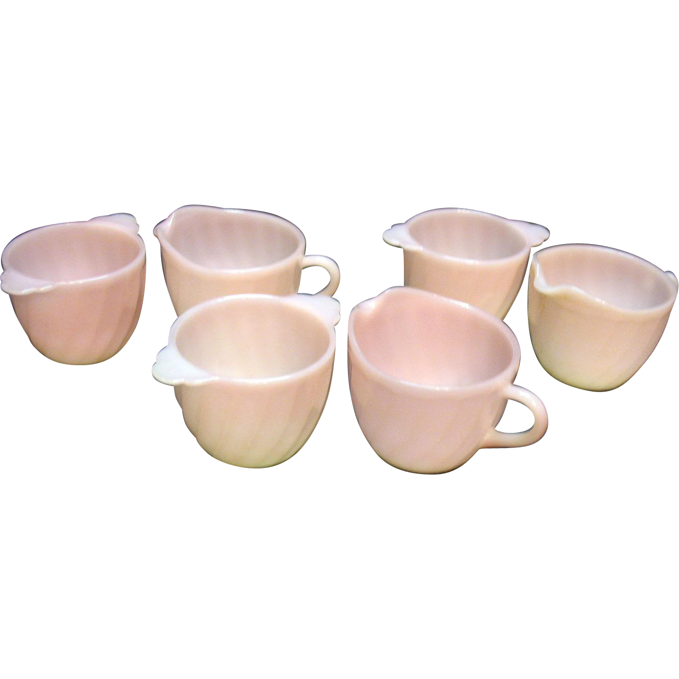 Vintage Anchor Hocking Fire King 3 Sugar & Creamer Sets Pink Swirl 1949-62 Good Condition