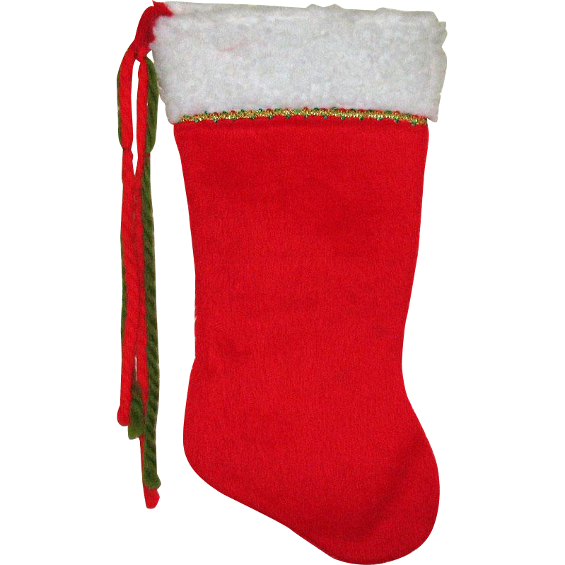 Vintage Hand Made Six Christmas Stockings Made of Cotton Red Furry Material Yarn 1960s Very Good Condition