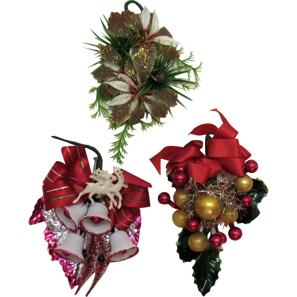 Three Vintage Christmas Decorations Pin Ons/Corsages 1950s Good Vintage Condition