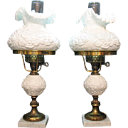 Two Vintage Fenton Milk Glass Electric Lamps Poppy Decoration 1960-70s Very Good Vintage Condition