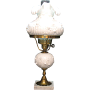 Vintage Fenton Milk Glass Electric Lamp Rose Motif 1960-70s Good Vintage Condition