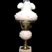Vintage Fenton Milk Glass Electric Lamp Rose Motif 1960-70s Good Vintage Condition