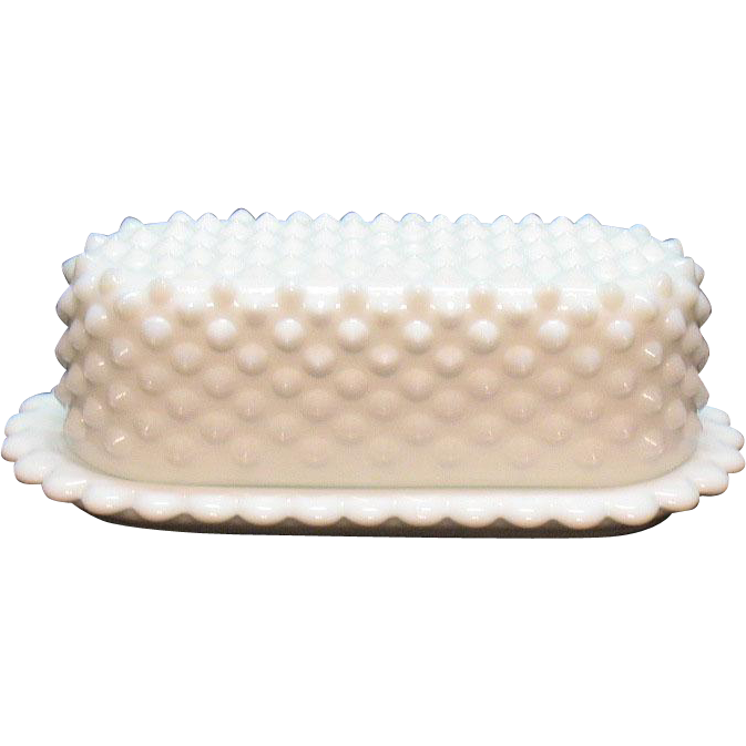 Vintage Fenton Milk Glass Hobnail ¼ Pound Butter Dish 1954-77 Very Good Condition