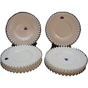 Vintage Fenton Milk Glass Silver Crest Salad Plates with Original Stickers Never used 1942-86 Very Good Condition