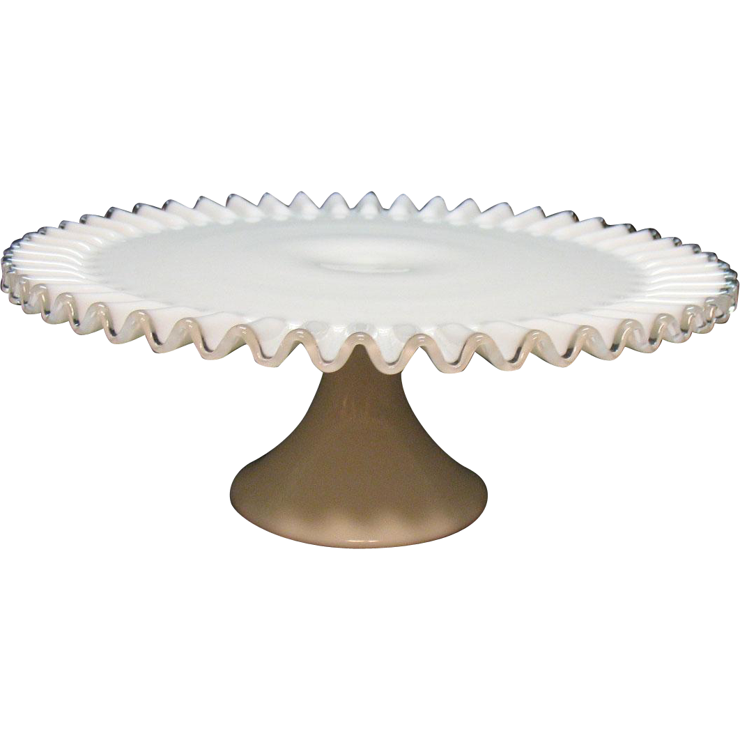 Vintage Fenton Milk Glass Silver Crest Pedestal Cake Stand 1952-79 Like New Condition