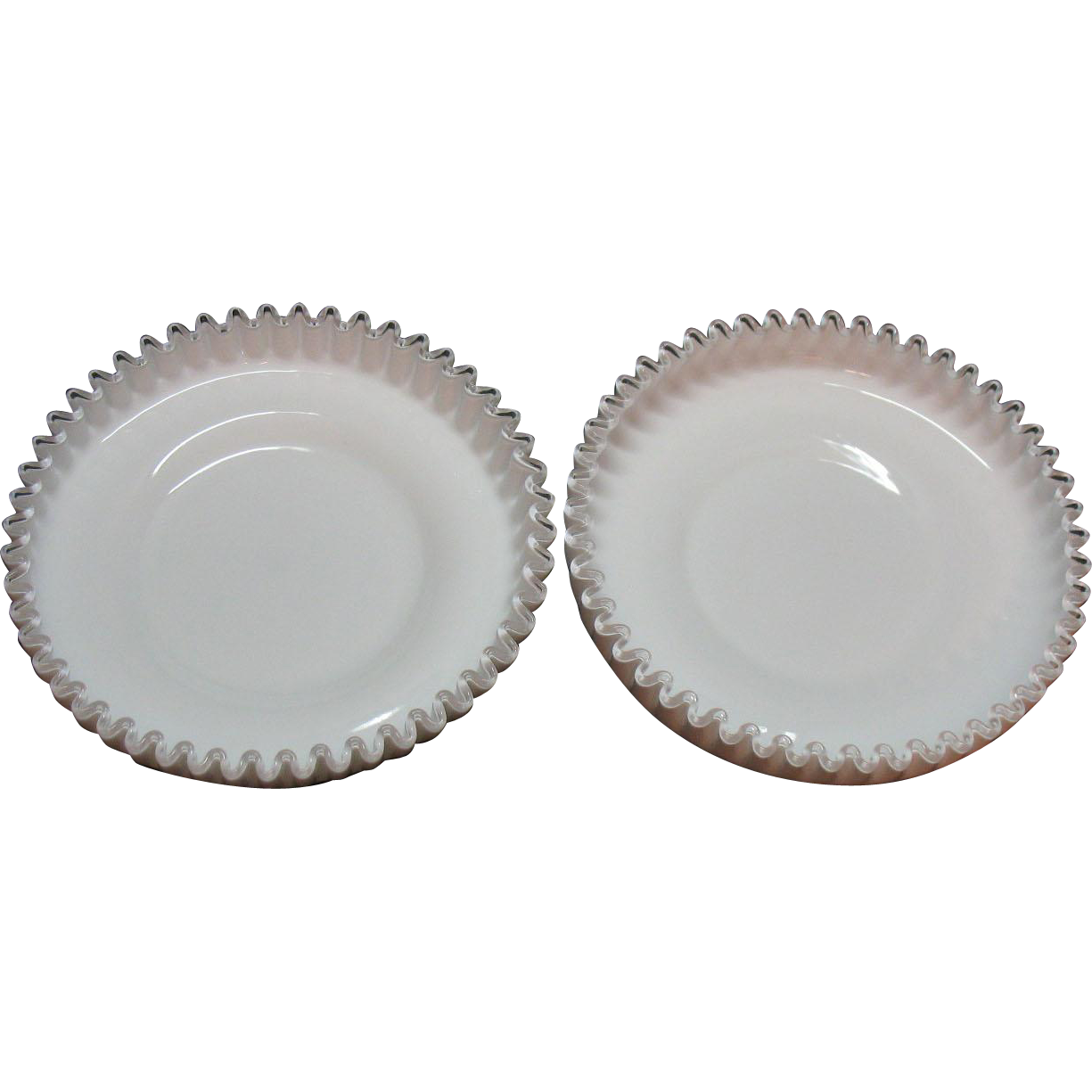 Two Vintage Fenton Milk Glass Silver Crest Shrimp/Chip Bowls 1942-86 like New Condition
