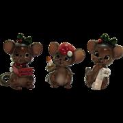 Vintage Josep Originals Christmas Ceramic Mice 1960s