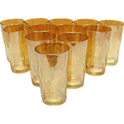 Vintage Jeannette Hex Optic Pattern 12 Glasses Marigold Carnival Color 1920-60s Very Good Vintage Condition