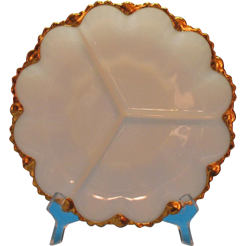 Vintage Anchor Hocking 3 Part Relish Tray White 22K Gold Trim 1950-60s Like New Condition