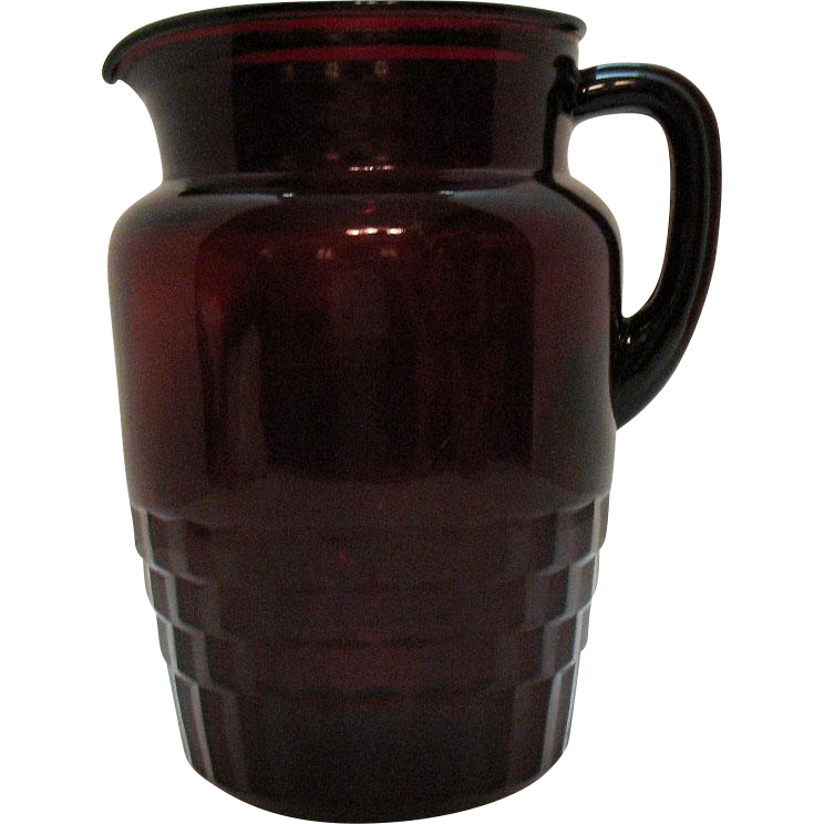 Vintage Anchor Hocking Ruby Red 64 Oz. Pitcher Windsor Pattern 1940-50s