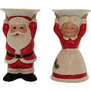 Vintage Santa and Mrs. Claus Porcelain Candle Holders by George Good Corp. 1982 Good Condition