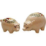 Vintage Pig Salt Pepper Shakers Tulips Motif 1940s Good Condition