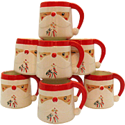 Eight Vintage James R. Summers Design 1950-60s Santa Cup with Winking Eye and Candy Cane Shaped Pipe