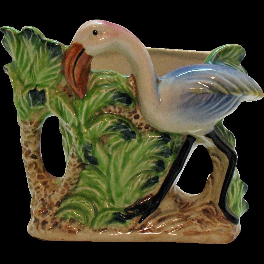 Vintage Flamingo Ceramic Planter by Florart 1950s Good Condition