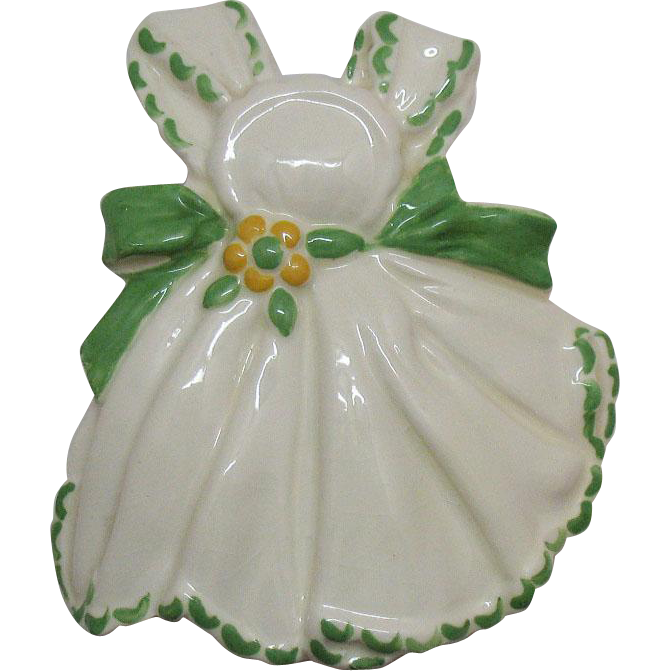 Vintage Ceramic Apron Wall Pocket by Conrad Potteries 1940-50s Very Good Condition