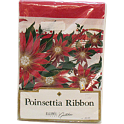 Vintage Table Cloth Poinsettia Ribbon Christmas Theme 60 x 84 Never Used Good Condition
