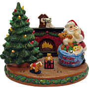 Vintage Chalk ware Christmas Scene Display with Lighted Christmas Tree 1960-70s Very Good Vintage Condition