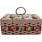 Vintage Woven Sewing Basket Never Used Made in Korea with Notions Very Good Condition
