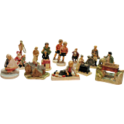 Vintage 12 Miniature Sebastian Figurines by P.W. Baston 1940-80 Good Condition