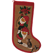 Vintage Large Burlap Christmas Stocking 1960-70s Good Condition