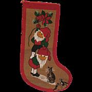 Vintage Large Burlap Christmas Stocking 1960-70s Good Condition