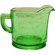 Vintage Hocking Glass Co. Green One Cup Measuring Cup Good Condition