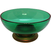 Vintage Paden City Green Salad Bowl Metal Base 1940-50s Good Condition
