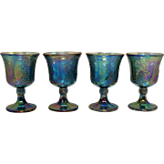 Vintage Indiana Glass 4 Goblets in Blue Carnival Glass Harvest Pattern 1971 Very Good Condition