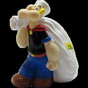 Vintage Popeye the Sailor Man Vinyl Bank 1970s Good Condition