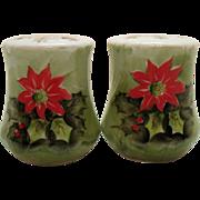 Vintage Lefton #4390 Salt/Pepper Shakers Poinsettia Motif 1960s Good Condition