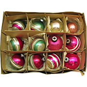 12 Vintage Shiny-Brite Glass Ornaments 1950s Vintage Used Condition