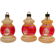 Three Vintage Unsilvered Lantern Shaped Christmas Glass Ornaments Premier Glass Works War Era Good Condition