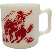 Vintage Hazel Atlas Cowboy Them Cup 1950s Good Condition