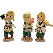 Three Vintage Lefton Ceramic Christmas Girls 1957