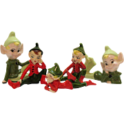 Five Vintage Ceramic Christmas Pixie Figurines 1960s Good Condition