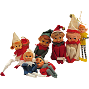 Seven Vintage Pixie Elves Christmas tree Ornaments 1950s Good Condition