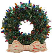 Vintage Ceramic Christmas Wreath Bottom Lights up Faux Plastic Lights 1983