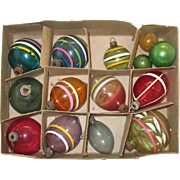 Vintage 11 Unsilvered Tinseled Glass Christmas tree Ornaments 1940-50s Good Vintage Condition