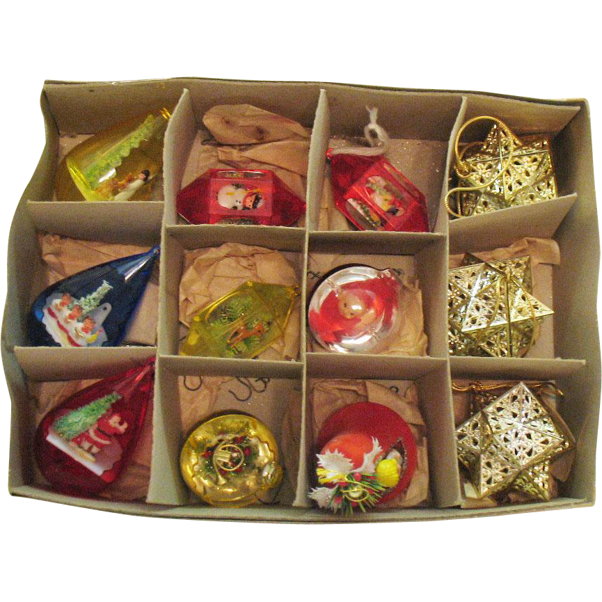 Vintage 12 Plastic Tree Ornaments Dioramas 1950-60s Good Vintage Condition