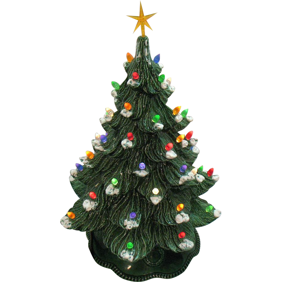 Vintage Ceramic Christmas tree with Faux Plastic Lights Bottom ...