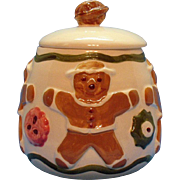 Vintage Gingerbread Man Cookie Jar Los Angeles Pottery 1950s Good Condition