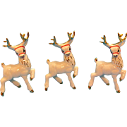Three Vintage Ceramic Reindeer Display 1950s Very Good Condition
