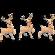 Three Vintage Ceramic Reindeer Display 1950s Very Good Condition