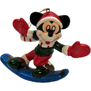 Vintage Enesco Mickey Mouse Ceramic Christmas Disney tree Ornament 1990s Good Condition